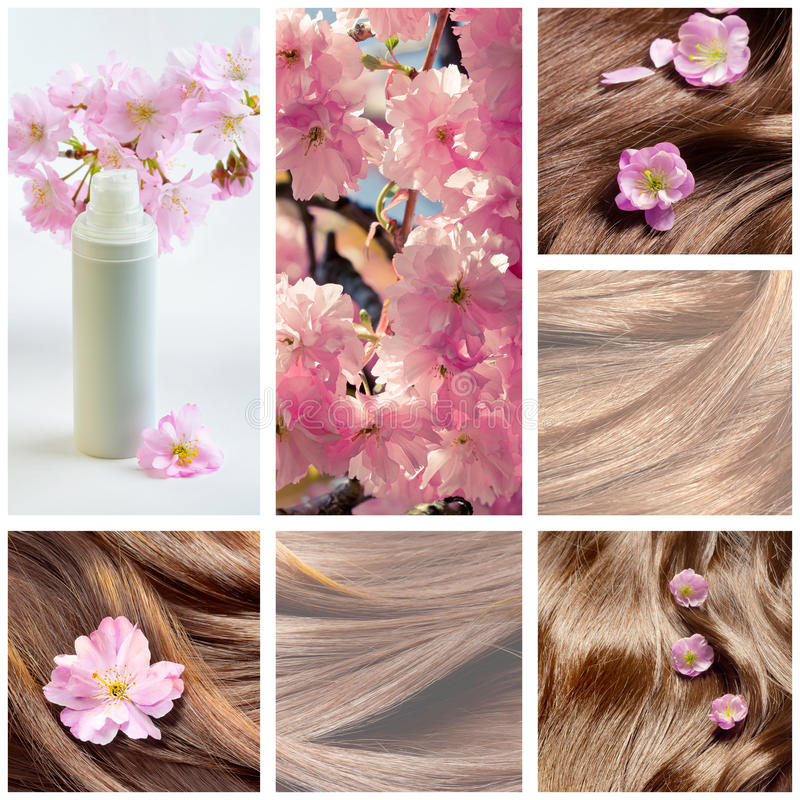 Collage of hair care and hair beauty images with flowers stock photo