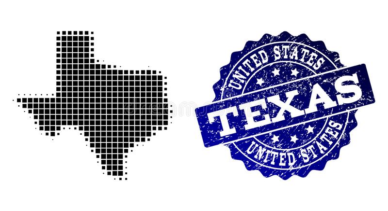 Collage of Halftone Dotted Map of Texas State and Grunge Stamp Watermark. Geographic collage of dot map of Texas State and blue grunge stamp imprint. Halftone vector illustration