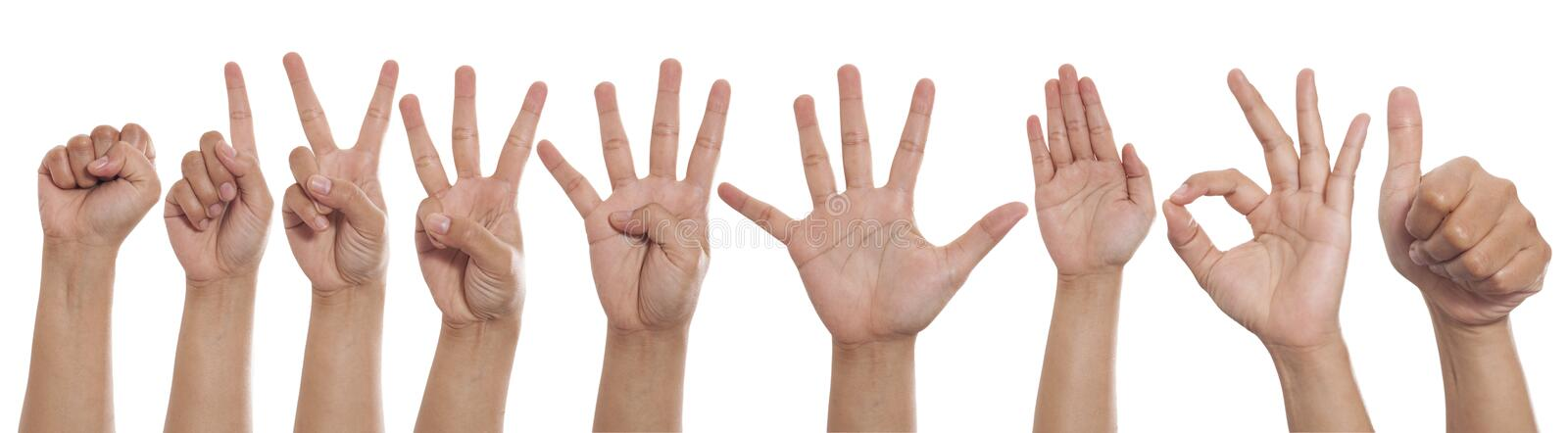 Collage of hands showing different gestures, number hand finger signs set stock photo