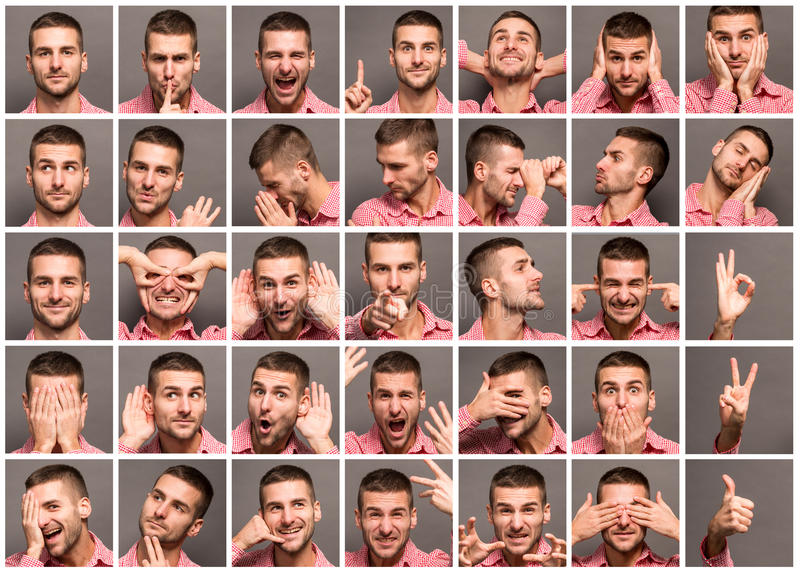 Collage of handsome man with emotions stock images