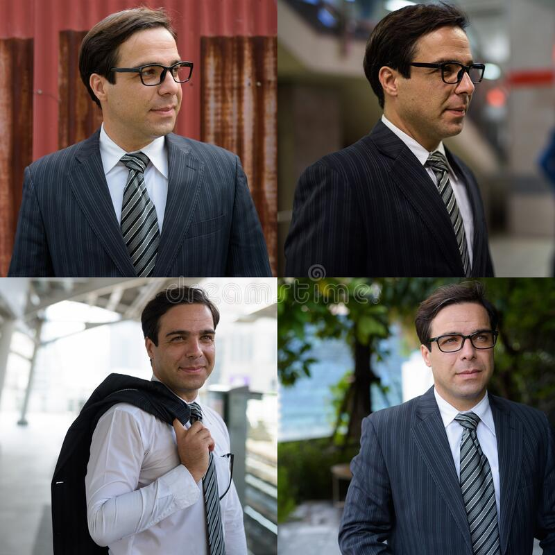 Collage of handsome Persian businessman in different places around the city royalty free stock photography