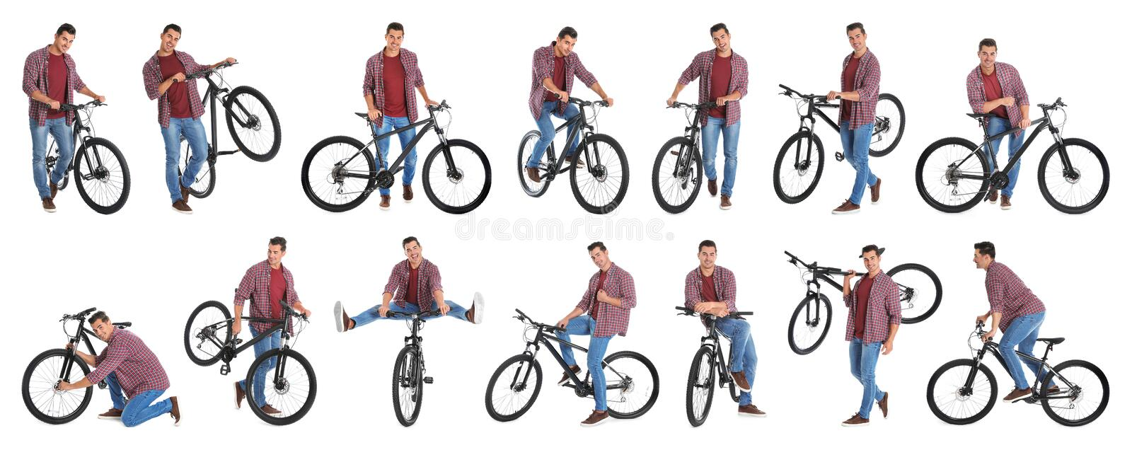 Collage of handsome young man with bicycle on background stock photo