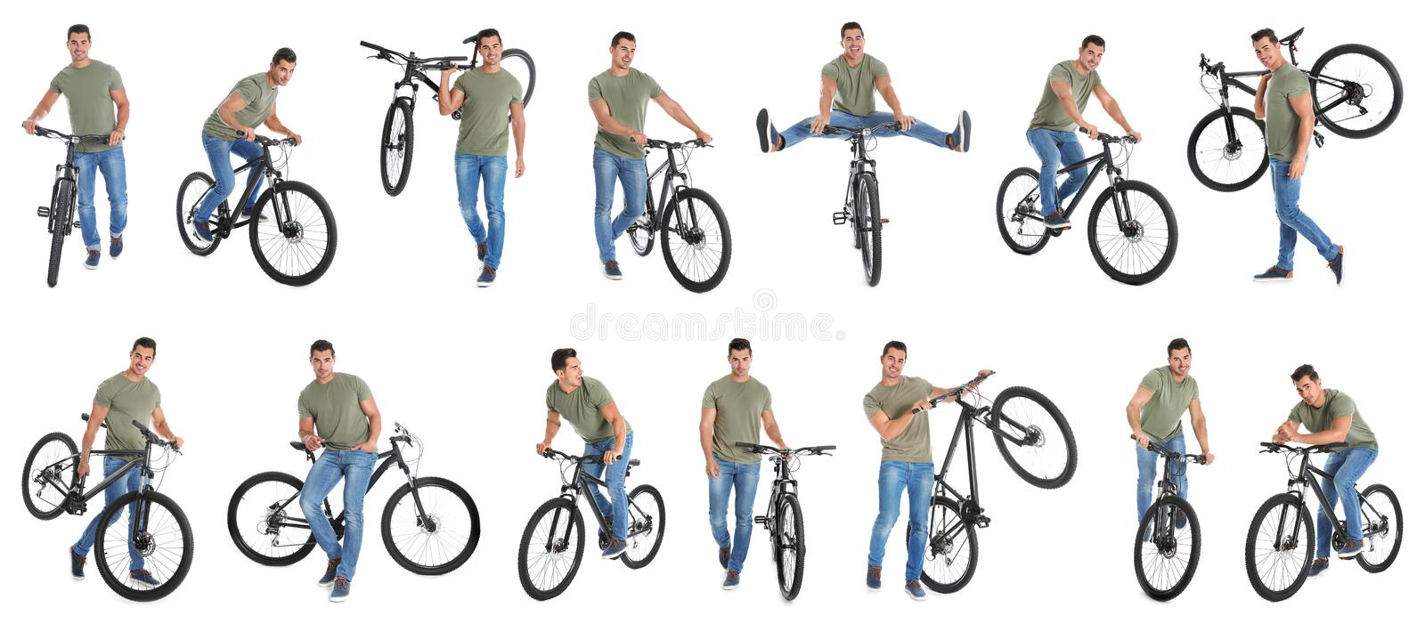 Collage of handsome young man with bicycle on background stock photography
