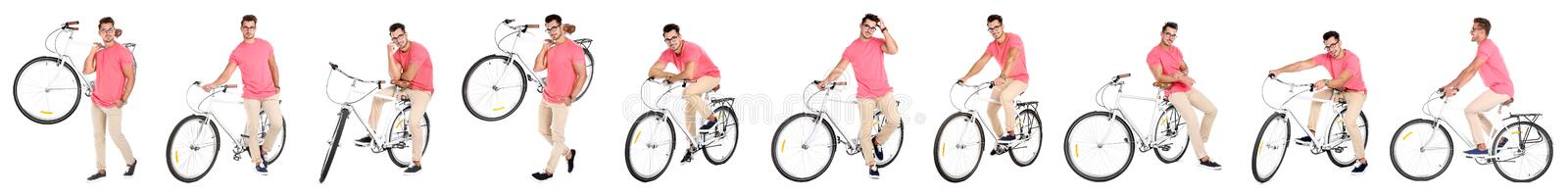Collage of handsome young man with bicycle. Banner design royalty free stock image
