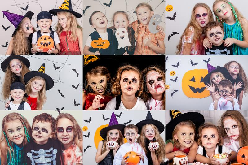 Collage of happy children on Halloween party. Collage of happy children. Concept of kids on Halloween party royalty free stock image