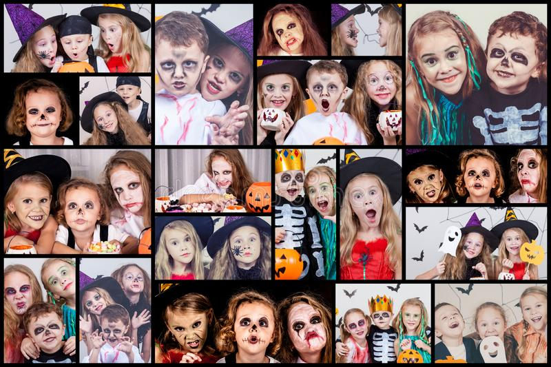 Collage of happy children on Halloween party. stock photo