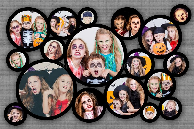 Collage of happy children on Halloween party. Collage of happy children. Concept of kids on Halloween party royalty free stock photography