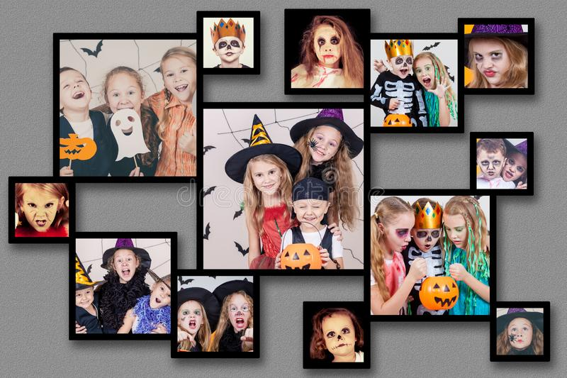 Collage of happy children on Halloween party. Collage of happy children. Concept of kids on Halloween party stock photography