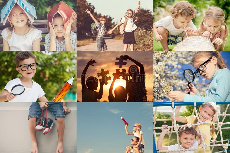 Happy children playing outdoors at the day time. royalty free stock photo