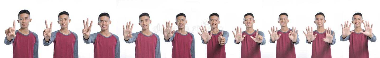Collage of happy young asian man showing counting sign from one to ten while smiling confident and happy royalty free stock photography