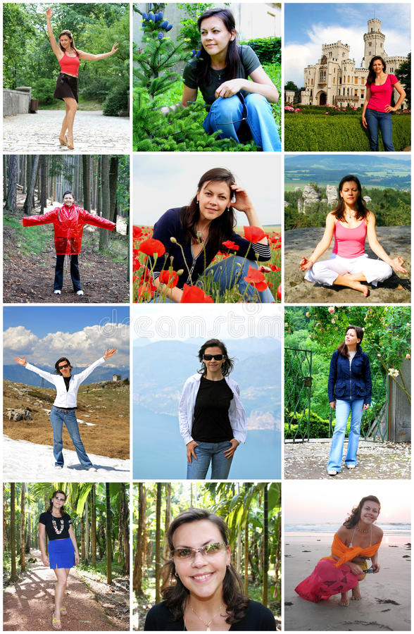 Collage of Happy Young Woman Enjoy Travel royalty free stock photo