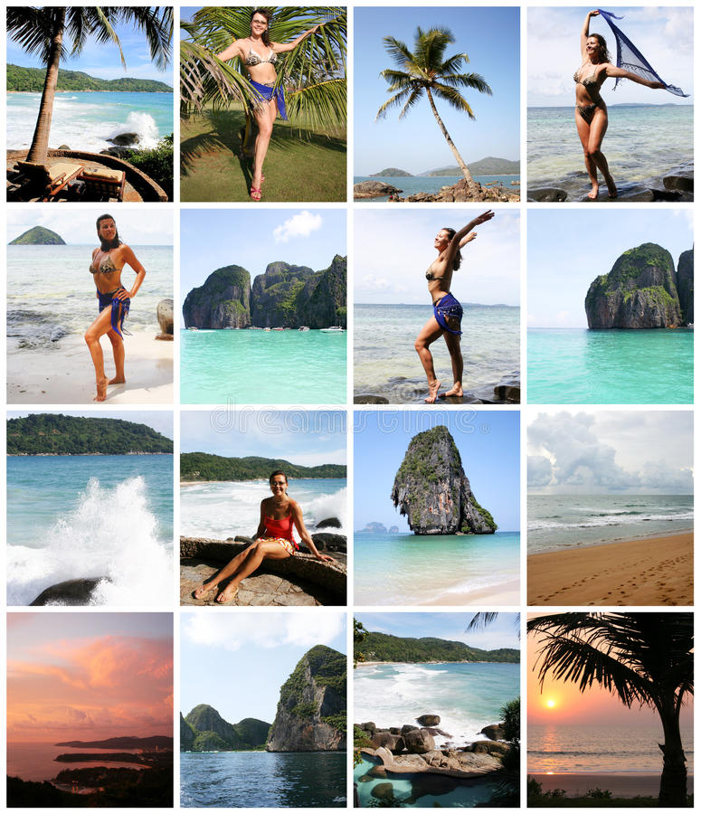 Collage of Happy Young Woman Enjoying on the Beach stock images