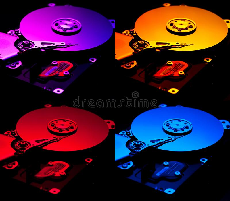 Collage hard computer disks royalty free stock images