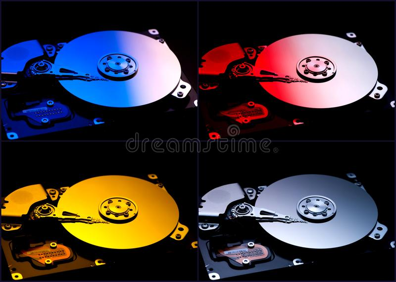 Collage hard computer disks royalty free stock image