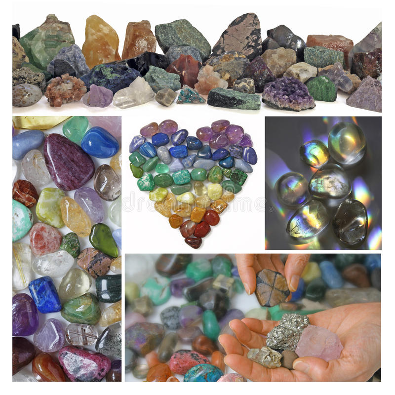 Collage of Healing Crystals stock photography