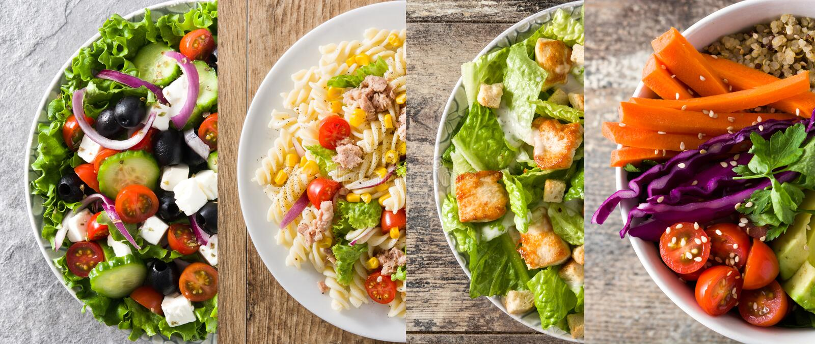 Collage of healthy salad. Greek salad, Pasta salad, Caesar salad and Buddha bowl stock images
