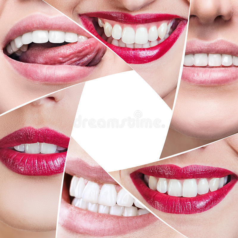 Collage of healthy smile in diaphragm shape. royalty free stock photos