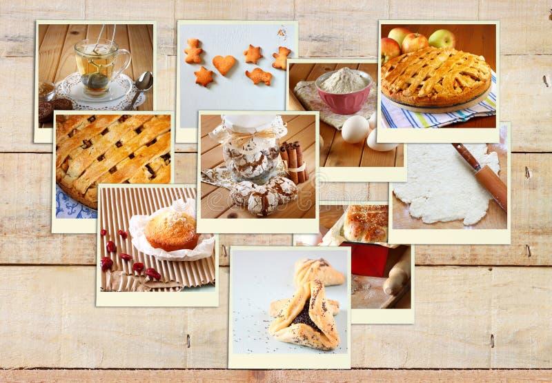 Collage hecho en casa de la hornada con las galletas, el pan fresco, la empanada de manzana y los molletes sobre fondo de madera imagen de archivo