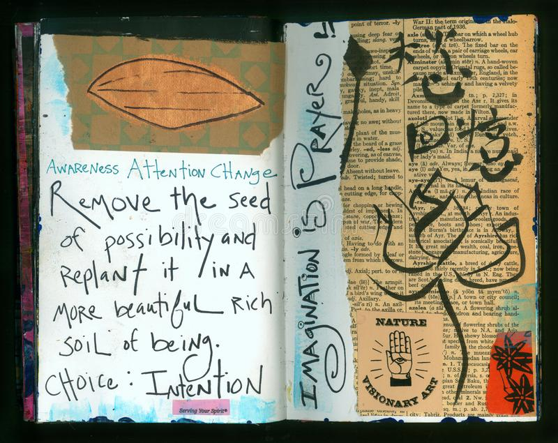 Collage hecho a mano Art Journal de la sabiduría loca del artista de la INTENCIÓN libre illustration