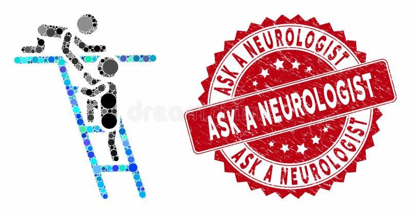 Collage Help mit Textured Ask a Neurologist Seal lizenzfreie abbildung