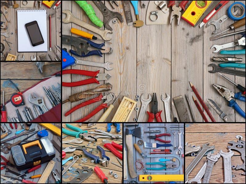 collage Herramientas en un piso de madera, visión superior foto de archivo libre de regalías