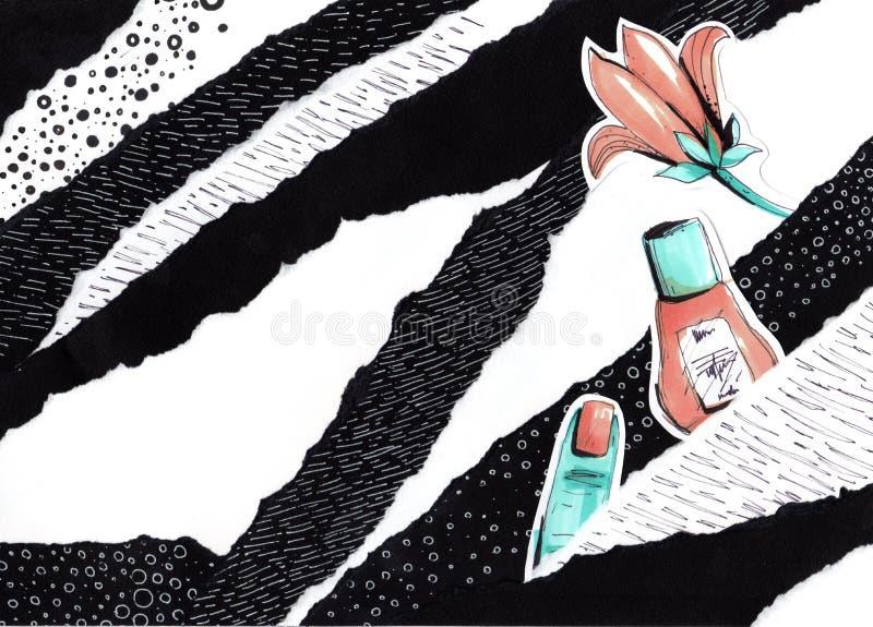 Collage i en stil för modetidskrift med galna flickakanter och ögon Flickamun- och ögonnärbild med läppstiftmakeup royaltyfria bilder