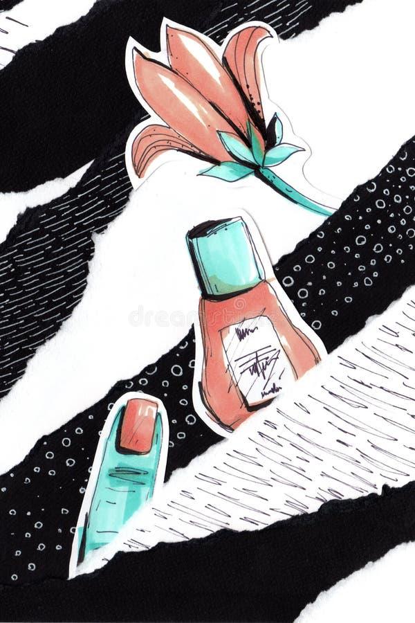 Collage i en stil för modetidskrift med galna flickakanter och ögon Flickamun- och ögonnärbild med läppstiftmakeup vektor illustrationer