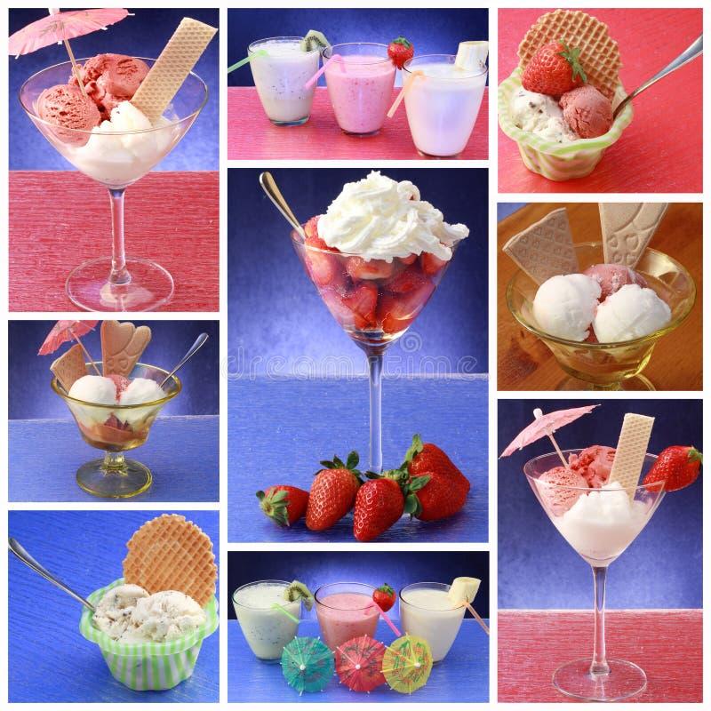 Collage of ice cream royalty free stock photos