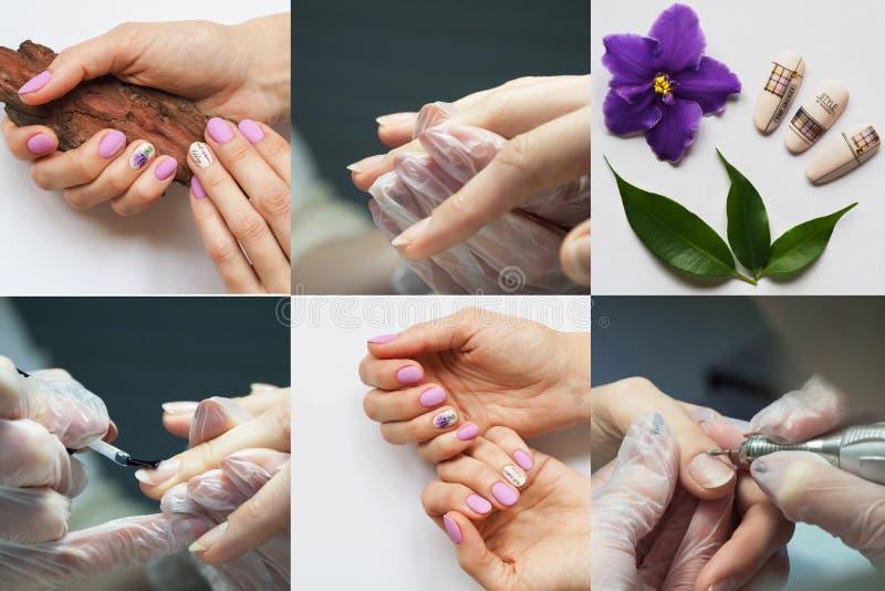 Collage il manicure di mostra dell'hardware Collage del manicure immagini stock