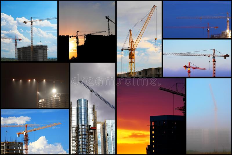Collage illustration of construction. Buildings and cranes stock image