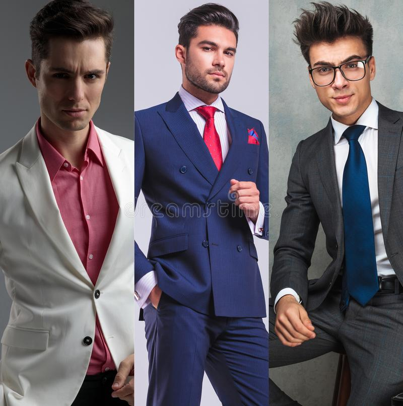 Collage image of three different fashion men portraits royalty free stock photography