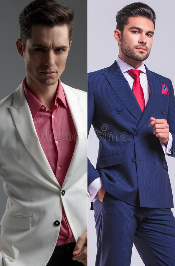 Collage image of two elegant man dreesed in suit stock photos
