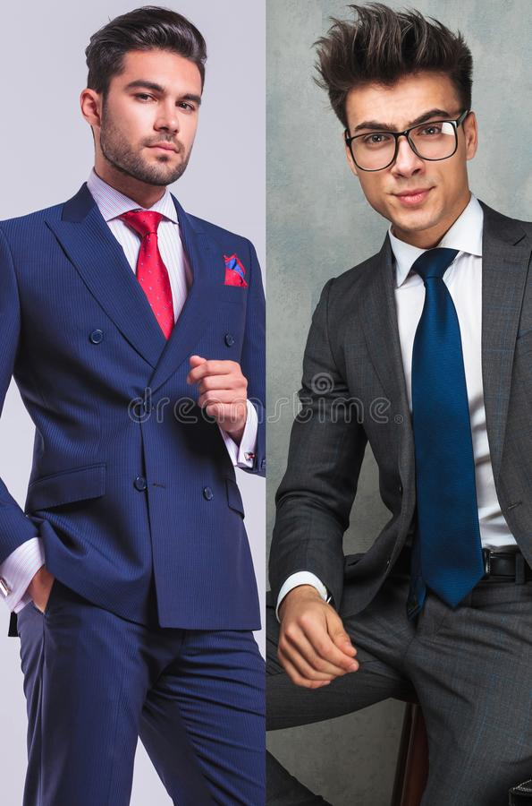 Collage image of two young casual mens posing in suit stock photography