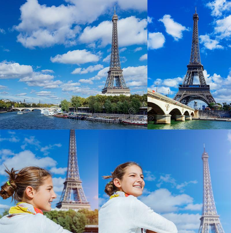 Collage of images Beautiful girl in Paris with Eiffel tower stock images