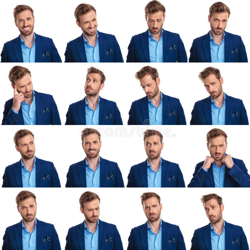 Collage of 16 images of cool young smart casual man royalty free stock photography
