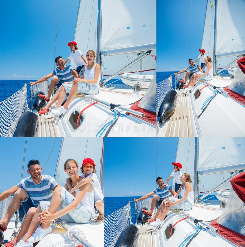 Collage of images Father with adorable kids resting on yacht royalty free stock photography