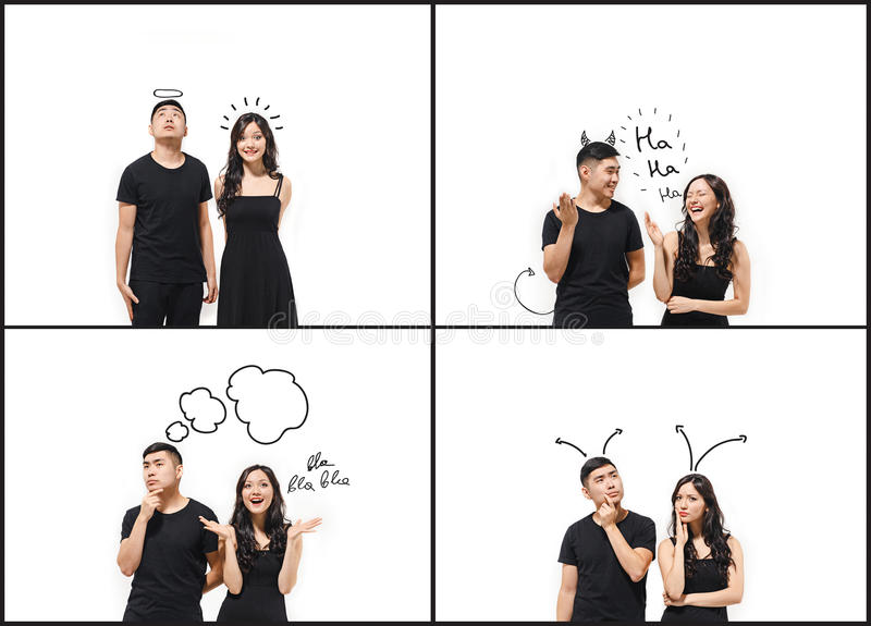 Download the collage from images of korean couple isolated on white stock photo image of