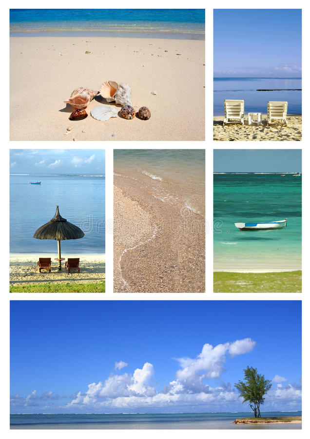 Tropical beach collage. Collage of images from a tropical resort, depicting seascapes and an assortment off sea shells on the beach royalty free stock photo