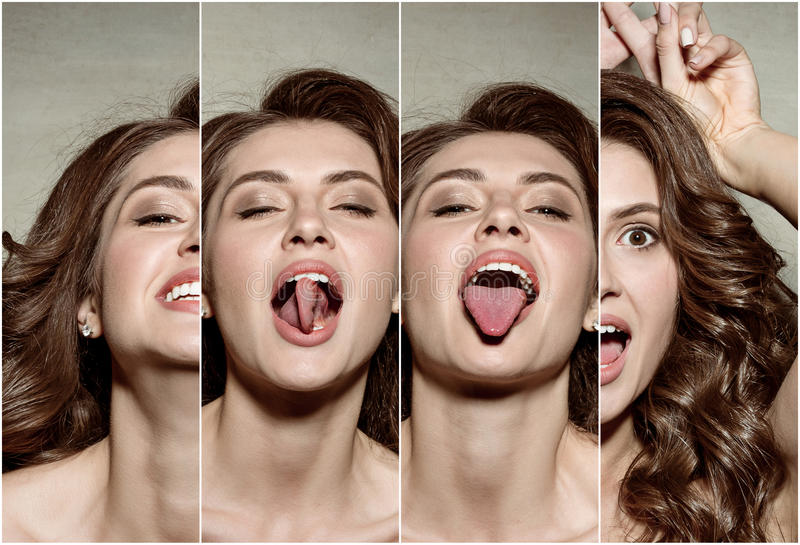 The collage from images of young woman`s portrait with funny emotions. The collage from imageyoung woman`s portrait with funny happy emotions on gray background royalty free stock photo