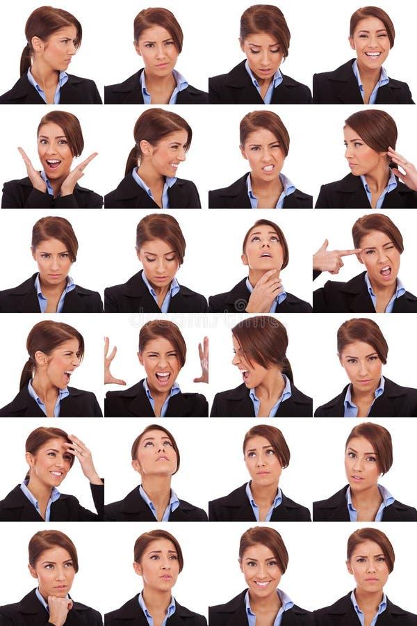 Collage impressionabile dei fronti della donna di affari immagine stock libera da diritti