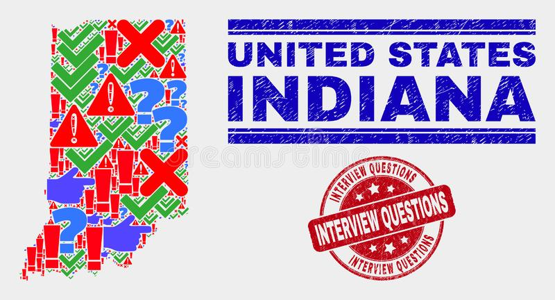 Collage of Indiana State Map Symbol Mosaic and Grunge Interview Questions Seal. Sign Mosaic Indiana State map and seals. Red rounded Interview Questions grunge stock illustration