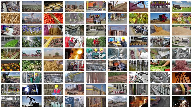 Collage industriële productie stock foto