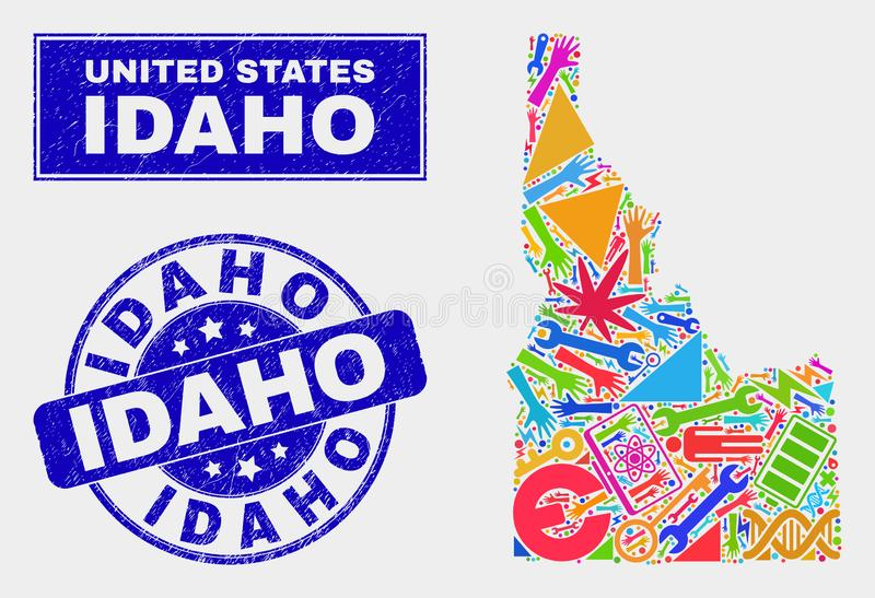 Collage Industrial Idaho State Map and Distress Idaho Stamp Seal. Mosaic service Idaho State map and Idaho seal. Idaho State map collage composed with random royalty free illustration