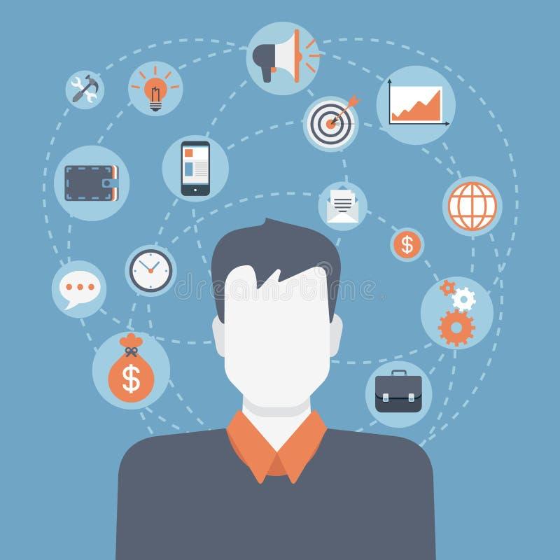 Collage infographic del icono del estilo del hombre de negocios moderno plano del web ilustración del vector