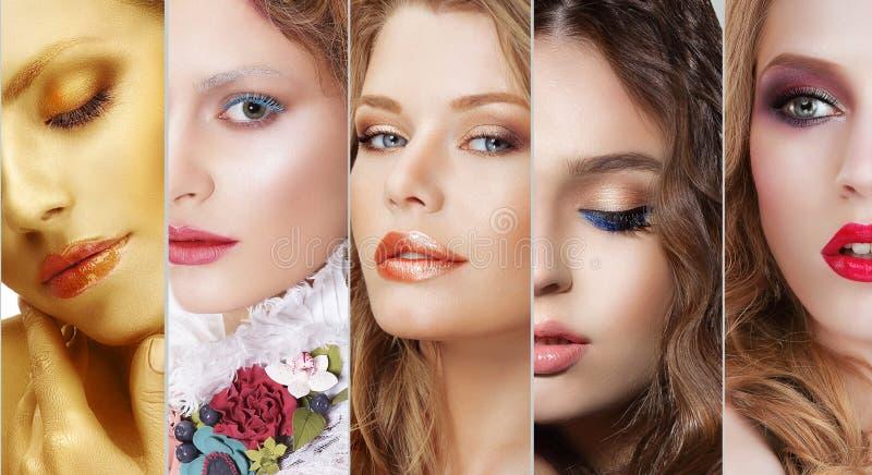 collage Insieme dei fronti delle donne con vario trucco variopinto fotografie stock