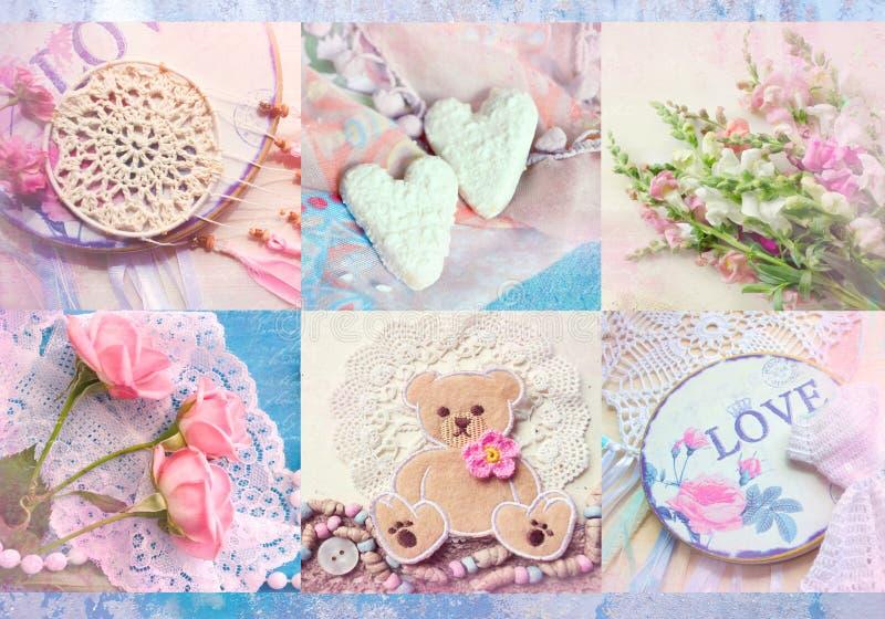 Collage interessante con gli elementi, le disposizioni dei fiori, i cuori e le rose tricottati Può usare per la stampa sulla cope immagine stock