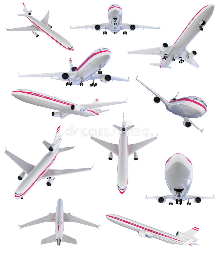 Download Collage Of Isolated Airplane Stock Illustration - Illustration of transport, jetliner: 12135418