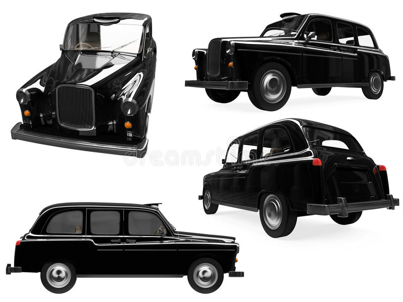 Collage of isolated black taxi vector illustration