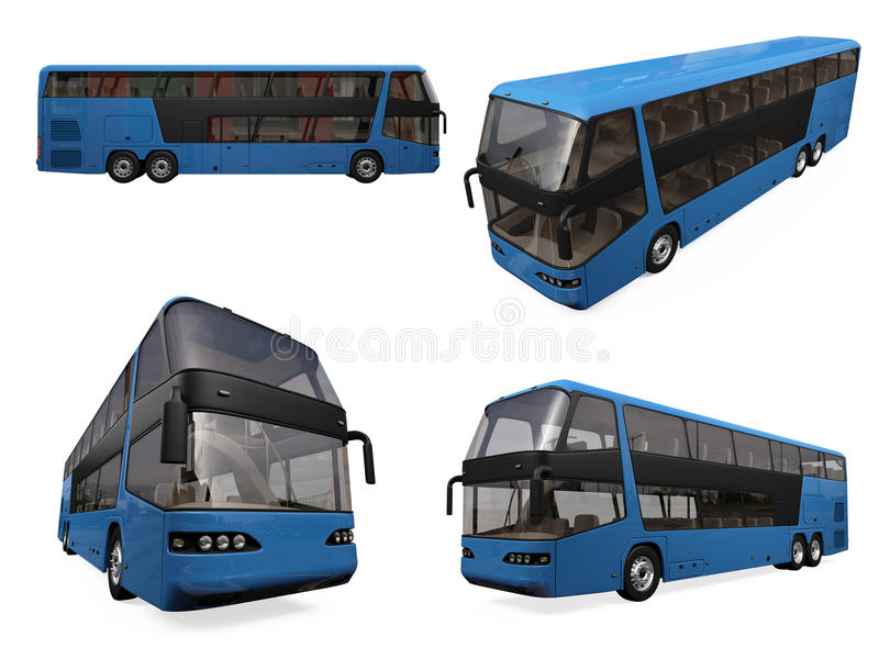 Collage of isolated bus. Isolated collection of blue bus over white royalty free illustration