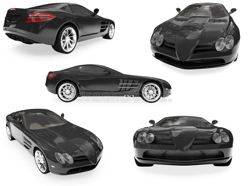 Collage of isolated car vector illustration